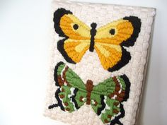 Vintage Butterfly Yarn Craft Wall Decor by lookonmytreasures on Etsy
