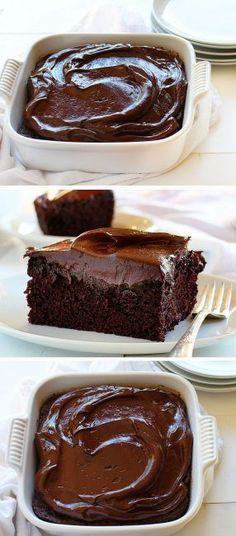 """A recipe for a chocolate cake that fits in an 8"""" x 8"""" pan! Dunno about the icing.  Might use the icing recipe on the back of the Hershey's box."""