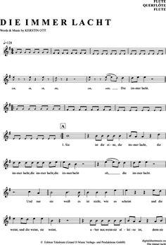 Die Immer Lacht (Querflöte) Stereoact [PDF Noten] >>> KLICK auf die Noten um Reinzuhören <<< Noten und Playback zum Download für verschiedene Instrumente bei notendownload Blockflöte, Querflöte, Gesang, Keyboard, Klavier, Klarinette, Saxophon, Trompete, Posaune, Violine, Violoncello, E-Bass, und andere ...