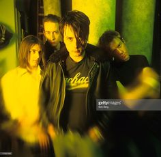 T he English rock band Suede (L - R) lead guitarist Bernard Butler, bassis Mat Osman, lead vocalist Brett Anderson and drummer Simon Gilbert pose for a Novermber1994 portrait in New York City, New York.