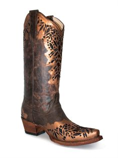 2cbe7242 Corral Bronze Wingtips with Black Embroidery. Dark Brown, Cowboy Boots ...