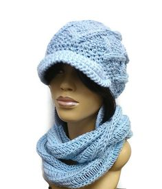 Baby Blue Cowl/Infinity scarf/ Circle Scarf/ snood/Hooded Cowl/ Neck Warmer Fall and Winter fashion Sky Blue matching Hat sold Separately