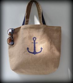 Navy Blue burlap beach bag Tote Bag big bag Women by ChantaDesign
