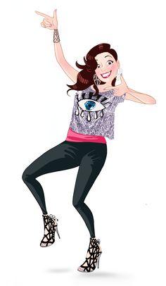 #girl #dance #dancing #eye #happy #sophiaWebster #shoes #heels #black #illustration #pink #smile #blog #lupe #lupegranite