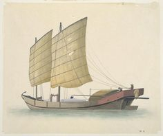 A boat carrying stone slabs. Zhuhai, Pearl River, Boat Painting, Stone Slab, Qing Dynasty, Guangzhou, Chinoiserie, Sailing Ships, Balcony