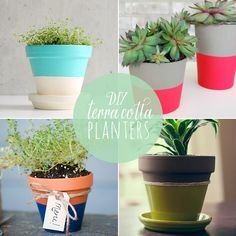 10 DIY Terra Cotta Planters- give them to friends with herbs planted in them. Flower Pot Crafts, Clay Pot Crafts, Flower Pots, Pot Jardin, Craft Images, Diy Plant Stand, Ideias Diy, Cactus Y Suculentas, Painted Pots