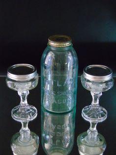 Moonshine Set Redneck Wine Margarita 2 Footed Mason Jar Glasses Atlas Strong Jar…