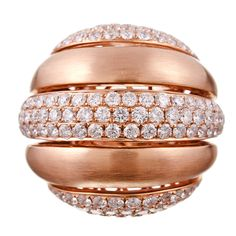 "Colossal Rose Gold and Diamond ""Striped"" Dome Ring"
