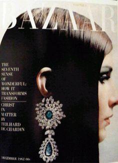 Pam Barkentin modelling Van Cleef & Arpels earrings shot by Hiro for Harper's Bazaar December Big Earrings, Vintage Earrings, Beauty Editorial, Editorial Fashion, Fashion Magazine Cover, Magazine Covers, Sixties Fashion, Fashion Images, Harpers Bazaar