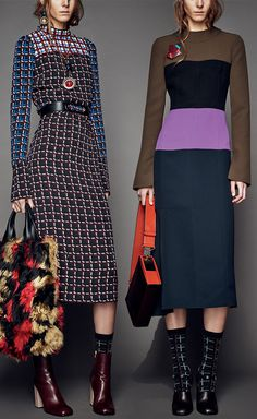 Consuelo Castiglioni looked to the clash of 1970's prints and designs for her Marni Pre-Fall 2015 collection - Looks 6 and 9 at Moda Operandi