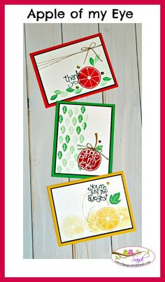 Stampin Up Apple of my eye cards by Sandi @ www.stampinwithsandi.com  What a fun stamp set to play with, I did 3-10 minute or less cards and shared the recipe today here:http://stampinwithsandi.com/stampin-up-apple-of-my-eye-sneak-peek/