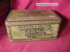 Rare 19th C Pettits & Smiths Ideal Cough Drops Tin / Fort Plain New York