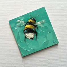Reserved for Faye. Bumblebee painting, Tiny original impressionistic oil painting of a whimsical Bumblebee, on panel. Watercolor Art, Small Canvas Art, Art Painting, Art Drawings, Painting, Oil Painting, Art Painting Acrylic, Painting Art Projects, Canvas Art