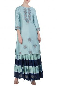 Blue embroidered kurta with leheriya sharara pants available only at  Pernia s Pop Up Shop. ce2f20202