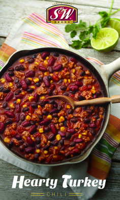 Did you know: Beans are one of the 10 superfoods people with diabetes should be eating? Try our Hearty Turkey Chili in honor of National Diabetes Month! Bean Recipes, Chili Recipes, Turkey Chili, Lime Wedge, Cooking Turkey, High Protein, Superfoods, Cilantro
