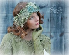 Mossy Lace Headband Ear Warmer by GreenTrunkDesigns on Etsy