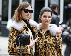 Best friends who dress together, stay together! Alexa Chung and Pixie Geldof arrive at fas...