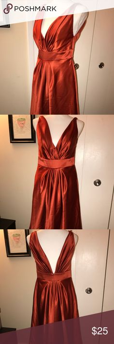 Formal Orange Dress, Sz. 12 Size 12, knee length, formal *orange dress with pockets. Originally a bridesmaid dress, yet can serve any purpose or need. Very pretty, in style & color (some photos taken w/flash in an attempt to capture the pretty color!  *The type of orange can be classified as burnt amber, just amber...it's a that kind of color. Pretty soft orange color, that is still all sorts of vibrant.  !!Has safety pin pricks on the chest area, as I had to affix it slightly to feel less…