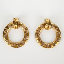 VINTAGE CHANEL Gold Tone Logo Cutout Round Clip On Earrings ...