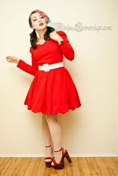 A-Line Above Knee Red Empire Vintage Dress