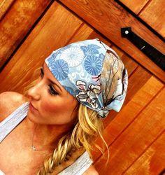 Wide boho head scarves.