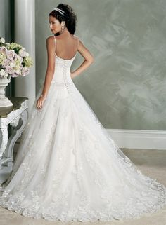 Picture of Royal A-Line Scoop Dropped Waist Spaghetti Straps Wedding Dresses