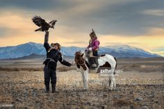 Stockfoto : The eagle hunter's siblings coaching their eagle.