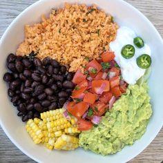 Taco Buddha Bowl - homemade Mexican rice, black beans, corn, homemade sour cream