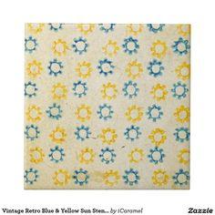 Vintage Retro Blue & Yellow Sun Stencil Texture
