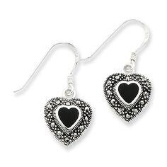 Sterling Silver Onyx Heart Marcasite Earrings #IceCarats