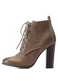 Burnished Chunky Heel Lace-Up Booties