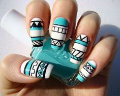 Trending Nail Art Designs To Drive You Crazy These trendy Nails ideas would gain you amazing compliments. Check out our gallery for more ideas these are trendy this year. Chevron Nails, Nautical Nails, Tribal Nails, Blue Nails, Nail Art Designs, Tribal Nail Designs, Colorful Nail Designs, Nail Polish Designs, Pedicure Nail Art
