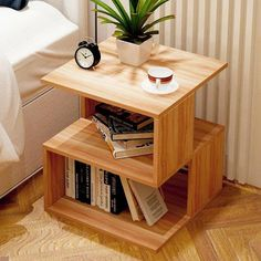 Creative sofa side table bedside table modern end side coffee table with storage shelf living room bedroom furniture Diy Coffee Table, Coffee Table Design, Modern Coffee Tables, Modern Side Table, Coffee Ideas, Coffee Table In Bedroom, Side Tables Bedroom, Sofa Side Table, Bedside Tables