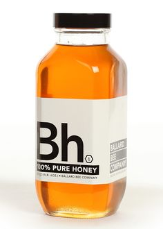 Ballard Bee Company honey packaging  - shape of bottom  - tiny hexagon symbol + Bh logo (for the periodic table of element concept)