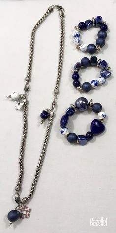 Long chain with navy beads and bracelets-RazelleT Jewelry Ideas, Diy Jewelry, Beaded Necklace, Chain, Beads, Bracelets, Beaded Collar, Beading, Chains