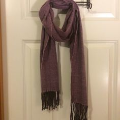 Purple winter scarf Purple light weight winter scarf with chevron design. 100% acrylic and gently used. Accessories Scarves & Wraps