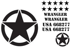 Military Star Decal Kit for Jeep Wrangler