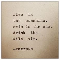"""Love Quotes : """"Live in sunshine. Swim in the sea. Drink the wild air."""" - Ralph Waldo Emerson - Quotes Sayings Great Quotes, Quotes To Live By, Inspirational Quotes, Quirky Quotes, Words Quotes, Me Quotes, Sayings, Famous Quotes, Surf Quotes"""