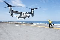 ATLANTIC OCEAN (July 18, 2015) An MV-22 Osprey prepares to land on the flight deck of the amphibious assault ship USS Kearsarge (LHD 3).