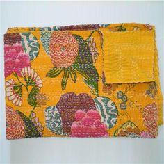 Printed Kantha Throw, Yellow