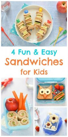 4 Easy Fun Sandwich Ideas for Kids 4 Fun and Easy Sandwich Ideas – Fun Food for Kids – perfect for school lunch boxes bento boxes and party food too – Eats Amazing UK Toddler Lunch Box, Toddler Lunches, Kid Lunches, School Lunches, Fun Sandwiches For Kids, Lunch Sandwiches, Party Food Boxes, Lunch Box Recipes, Lunch Ideas