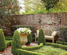10 Ways to Create a Backyard Getaway Brick garden wall and formal gardens Small Courtyard Gardens, Formal Gardens, Small Gardens, Outdoor Gardens, Outdoor Rooms, Modern Gardens, Garden Modern, Boxwood Garden, Brick Garden