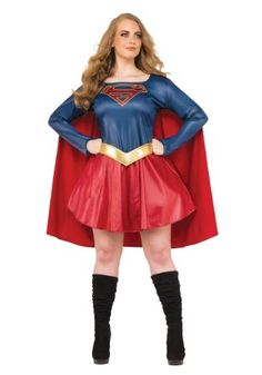 This Plus Size Supergirl TV Costume for women is styled like the suit worn on the popular TV series.