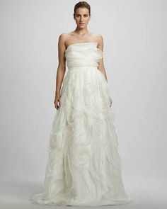 I LOVE the textures.....Swirl Organza Strapless Gown by Carmen Marc Valvo at Bergdorf Goodman.