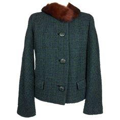 Reville London 1960s Boucle Fur Trimmed Jacket Multi UK 12 by BlackcatsvintageUK on Etsy