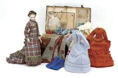 Simonne Fashion doll  with Wardrobe and Accessories. Ca 1870