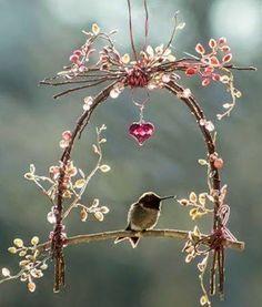Cute little hummingbird swing ~fairy garden~ Hummingbird Swing, Hummingbird House, Deco Floral, Humming Bird Feeders, Humming Bird Bath, Garden Crafts, Garden Ideas, Backyard Ideas, Rustic Backyard