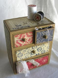 Altered drawer set using Authentique 'Glory' collection