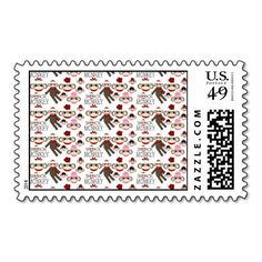 Cute Red and Pink Sock Monkeys Collage Pattern Stamp