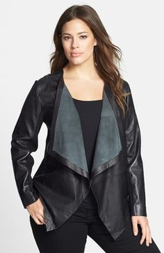 Every girl needs a leather jacket in her closet. Sejour Waterfall Front Leather Jacket (Plus Size) available at Ashley Graham, Curvy Fashion, Plus Size Fashion, Womens Fashion, Plus Size Leather Jacket, Leather Jackets, Plus Size Kleidung, New Outfits, Plus Size Outfits